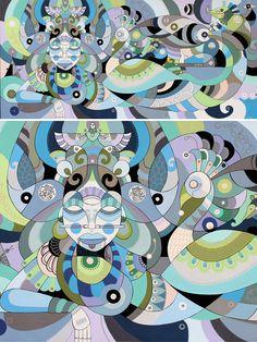 Age of Aquarius by Fernando Chamarelli, acrylic on canvas, 70 x 150 cm, 2013