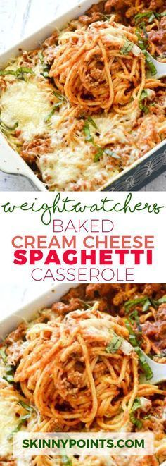 Baked Cream Cheese Spaghetti Casserole With Weight watcher Smart Points