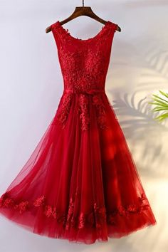 Unique Burgundy High Low Tulle Cheap Prom Dress With Appliques - $139 #MYX18200 - SheProm.com