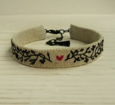A Little Heart  Hand Embroidered Cuff Bracelet by Sidereal on Etsy, $28.00