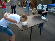 Party games - put vaseline on nose and move cotton balls from one bowl to the other; put a cookie on forehead and move to mouth without using your hands.