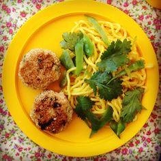 chicken sesame cakes w' lime coriander noodles