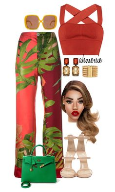 """""""Untitled #579"""" by ahmonie ❤ liked on Polyvore featuring F.R.S For Restless Sleepers, Khaite, Palm Beach Jewelry, Karen Walker, Giuseppe Zanotti and Hermès"""