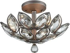 ELK Lighting presents the La Crescita La Crescita 3 Light Semi Flush In Weathered Zinc With Clear Crystal. Finished inWeathered Zinc, this item is available now to inspire your home or office.