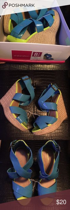 """Neon blue and green wedges Neon blue and lime green patent wedges with espadrille. 5.5"""" heel with 1.5""""platform Xhilaration Shoes Wedges"""