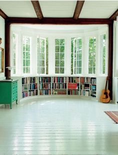 Would like this better if it had a bay window seat over the shelving. House, Interior, Home Libraries, Scandinavian Home, My Scandinavian Home, New Homes, Beautiful Homes, Bay Window, Window Seat
