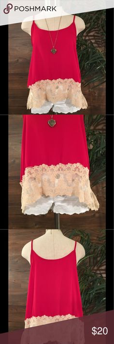 Haute Society Tank Basic red tank with lace detail around bottom. In pristine condition Haute Society  Tops Tank Tops