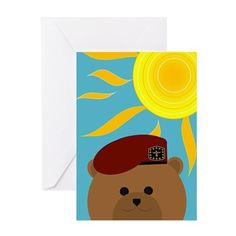 """Miss sharing the summer fun with you"" Send one of my military bear card designs in one of 9 Army uniforms  to tell you Army Hero  that next mail call. : )"