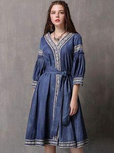 Folk Embroidery V-Neck 3/4 Sleeve Belted Skater Dress