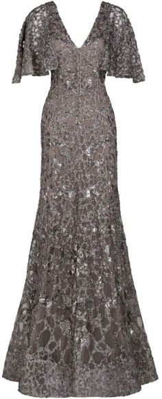Gown with Metallic Sequin Detail - Lyst wow! modest and stylish! Beautiful Evening Gowns, Evening Dresses, Maxi Gowns, Gown Dress, Elie Saab Gowns, Dress Outfits, Fashion Dresses, Grey Gown, Cute Dresses