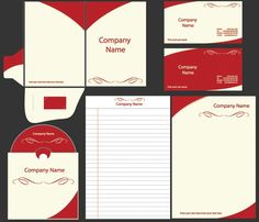 Vector Template Set - Red and cream corporate identity vector template ...