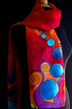 Bold and vibrant silk scarf by FantasticPheasant on Etsy, $40.00