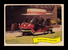 """https://flic.kr/p/9MwYVx   Fleer """"Kustom Car"""" Sticker, 1975   """"World famous Bing used this electric-powered Cushman Kart in his orange juice commercials.  There's a 4"""" smoking pipe and a round hat 10"""" wide, plus a TV, two phones, tape recorder, and FM stereo."""""""