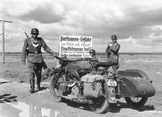 Zundapp patrol and escort motorcycle on the Eastern (Russian) Front, 1941,