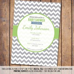 Chevron Baby Shower Invitation Boy Baby Shower Invitation, gender neutral, grey and green digital, printable file (item109c) on Etsy, $13.00