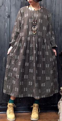 2017 gray pure linen dress plus size clothing linen clothing dress casual jacquard o neck cotton dresses