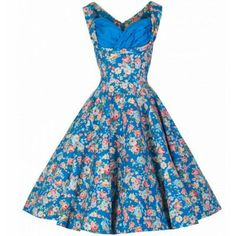 Lindy Bop Ophelia 1950's Sky Blue Floral Western Swing Dress