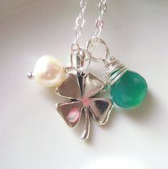 For St. Patrick, Lucky Necklace Shamrock 4 leaves clover by RachellesJewelryBox, $36.00