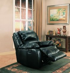 Shop Black Leather-Like Fabric Rocker Recliner with great price, The Classy Home Furniture has the best selection of to choose from Furniture For You, Home Furniture, Rocker Recliner Chair, Hanging Egg Chair, Leggett And Platt, Library Chair, Home Goods, Home Improvement, Black Leather
