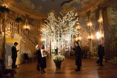 Opulent Wedding with Whimsical, Luxurious Touches in New York City tree with greenery and white flowers indoors hanging white ribbons with escort cards Tree Wedding, Fall Wedding, Wedding Reception, Our Wedding, Wedding Stuff, White Orchids, White Flowers, Ballroom Wedding, Chuppah
