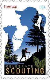 Girl Scout Forever postage stamp available in June to celebrate 100 years of Girl Scouts. Juliette Low would be proud.