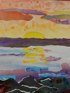 Watercolor Landscape Collage Grade 8