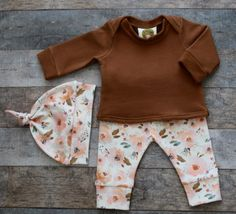 Organic Baby Girl Fall Outfit Floral Light by LovelyLyraOrganics