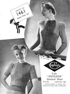 "Ladies Leaf Lace 1940s Twin Set Jumper Cardigan 34"" Bust Copley's 1461 Vintage Knitting Pattern Pdf Download"
