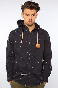 The Crown Hooded Buttondown Shirt in Navy by RockSmith