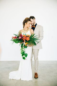 tropical bridal look