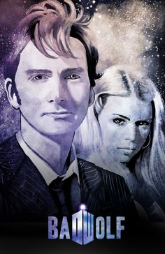 "Doctor Who: The Tenth Doctor and Rose Tyler - ""Bad Wolf"" Digital Art 17x11 Poster Print by watchitDesigns"