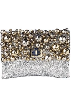 Anya Hindmarch bell and silver clutch