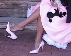 """https://flic.kr/p/8rzmyq   Pink Poodle ...skirt and shoe dangle   Full fashioned cuban stockings from """"Our Secret Lace"""" black seams. High heel shoes. Fluffy petticoat slip. 50's costume. Pin up Patty. My model. My friend. She's wearing an anklet. Working that pump.  Beautiful feet and legs. So feminine, such a wonderful wife and woman. So sexy. They played fantasy games, he bought her the finest lingerie. They took their car to deserted road, she got out and played like hitcher who..."""