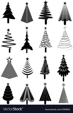 Christmas tree icons set vector image on VectorStock Christmas Tree Tumblr, Harry Potter Christmas Tree, Christmas Tree Drawing, Black Christmas Trees, Ribbon On Christmas Tree, Christmas Tree Themes, Christmas Crafts, Farmhouse Christmas Tree Skirts, Nightmare Before Christmas