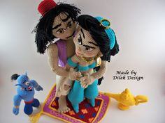 Aladdin and Jasmine  Amigurumi doll  Flying Carpet  by DilekDesign