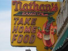 Nathan's neon sign at Coney Island.