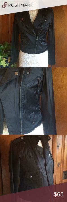 """Millard Fillmore black jacket size S preowned Gorgeous black jacket, in excellent condition, barely used. Measurements are as follow:  Pit to pit: 18"""" (46 cms) Length from pit: 11"""" (28 cms)  Total length from collar: 20 1/2"""" (52 cms) Sleeve: 24 1/2"""" (62 cms) Zippers are in great condition. Two pockets on each side. Zippers on sleeves make opening one inch wider, see pictures please. Jacket is slightly padded/quilted inside Machine wash Tumble dry.  Shell: 65% cotton/32% nylon/3%spandex…"""