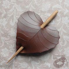 Brown Birch Leather Leaf Barrette, Hair Stick, Hair Slide Or Shawl Pin. $22.00, via Etsy.