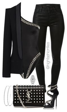 """Black x Black"" by highfashionfiles on Polyvore featuring J Brand, Norma Kamali, Haider Ackermann, Yves Saint Laurent, Giuseppe Zanotti and Rolex"