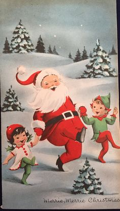 Elves & SANTA – Vintage unused Christmas card with envelope - Christmas Cards Old Time Christmas, Christmas Card Images, Vintage Christmas Images, Old Fashioned Christmas, Retro Christmas, Vintage Holiday, Christmas Greeting Cards, Christmas Pictures, Christmas Art