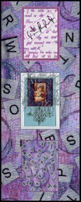 Lavendula Loveliness: ATCS: Artist Trading Cards on letter background using Misty Fuse.  By Sandra Foster