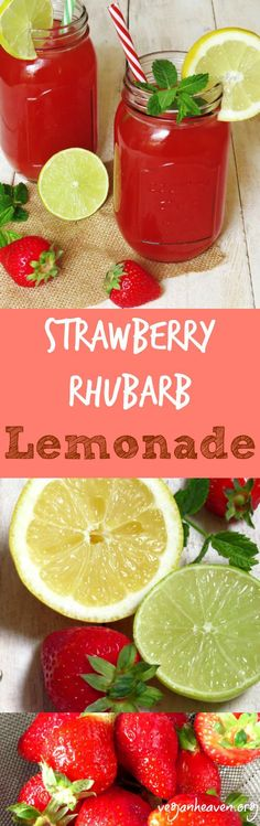 Strawberry Rhubarb Lemonade. They use Agave in this recipe but you can substitute honey or simple syrup in it place if need be. Find the recipe at@veganheaven.org #lemonade