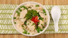 *Thai Chicken and Coconut Milk Soup (aka Tom Kha Gai Soup) (...I substituted Green curry paste, and added baby corn cobs, and it was great!)