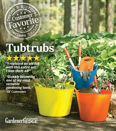 TubTrugs are tough, but flexible, utility tubs that can be used in various ways. Use them in the garden, as a yard work helper, or in your home!  |  GardenersEdge.com