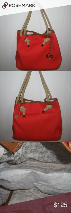 f0924210b24670 Michael Kors Large Grab Bag Michael Kors Large Canvas Grab Bag in Mandarin  Orange Includes hanging