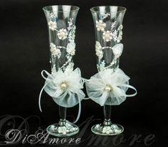 Rhinestone Pearl wedding champagne glasses // Pearly by DiAmoreDS, $52.00