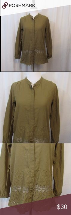 """J Crew Delaney Eyelet Trim Shirt 2 Style 38507 Size: 2 Material: 100% Cotton  Care Instructions: Dry Clean Bust: 36"""" Sleeves: 22"""" Length: 25""""  All clothes have been inspected and are in excellent used condition unless otherwise noted. P18 J. Crew Tops Blouses"""