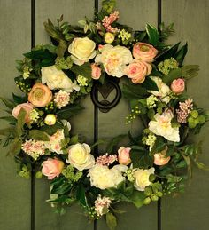 Morning Blush  Peony and Rose Spring Wreath by WillowgaleDesigns, $89.99