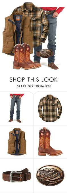 """""""Men's Flannel"""" by muddyramcowgirl ❤ liked on Polyvore featuring Wrangler, Double-H Boots, Ariat, M&F Western, country, men's fashion and menswear"""