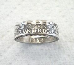 Coin Ring. Silver Quarter. Reversed. Crevice Toned. Sizes 4 1/2 - 7. Place Your Custom Order Here.